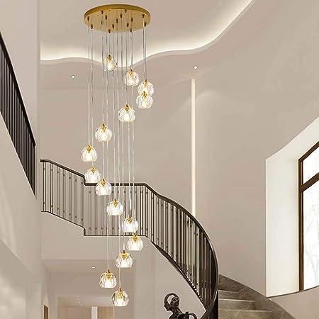 MJZHJD Araña 54x214cm araña de Cristal de Nordic Light Larga Escalera de Caracol Escalera Villa lámpara del ático en la Planta llevó la lámpara: Amazon.es: Hogar