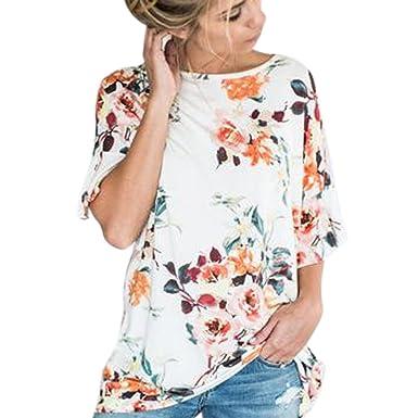 Amazon.com: DondPO Womens T Shirt, Fashion Floral Printing Summer Loose Short Sleeve T-Shirt Casual Tops Blouse Tee Shirts: Clothing