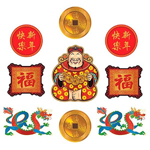 Amscan 190504 Chinese New Year Cutouts Party Supplies, Multicolor -