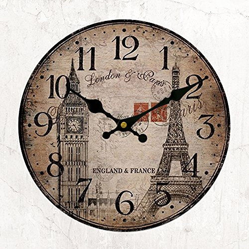 Wood Clock Round Vintage Big Ben Eiffel Tower Style 12 inch Analog Atomic Retro Battery Operated No Ticking Rustic French Country Style for Home Bedroom Cafe Decoration