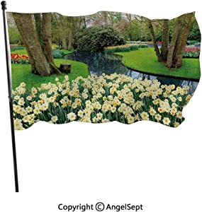 AngelSept Fashion UV Protected Polyester Flags,Flower Garden in Recreation Park with Fresh Grass Field and Pond Nature Scene Green Brown,3x5 ft,Durable & Fade Resistant for Outside All Weather