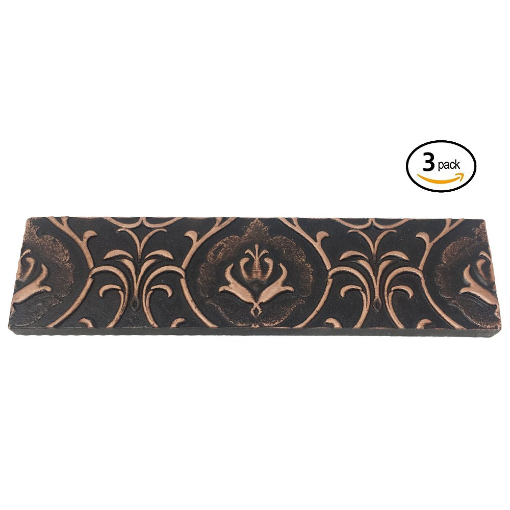 Vogue Tile Resin Venetian Bronze Metallic Look Pack of 3 Pieces 2'' x 8'' Liner Trim Border Wall Tile for Kitchen Backsplashes & Bathroom Walls (Venetian Bronze)