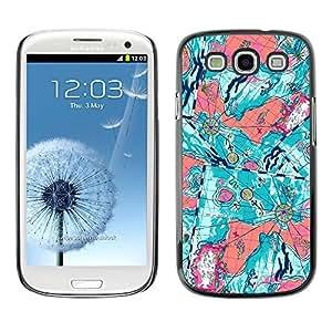 Paccase / SLIM PC / Aliminium Casa Carcasa Funda Case Cover para - Teal Abstract Floral Purple Painting - Samsung Galaxy S3 I9300