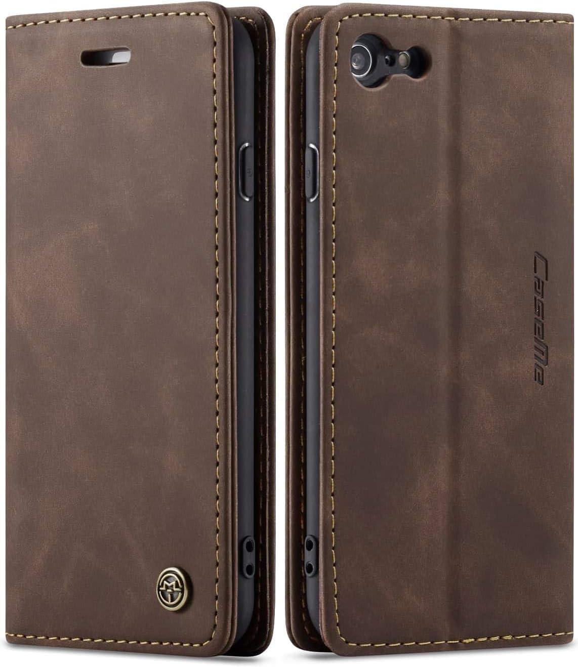 iPhone 6 Plus Wallet Case iPhone 6S Plus Leather Case, SINIANL Folio Case with Kickstand Credit Card Holder Magnetic Closure Folding Flip Book Cover Case for iPhone 6 Plus iPhone 6S Plus - Coffee