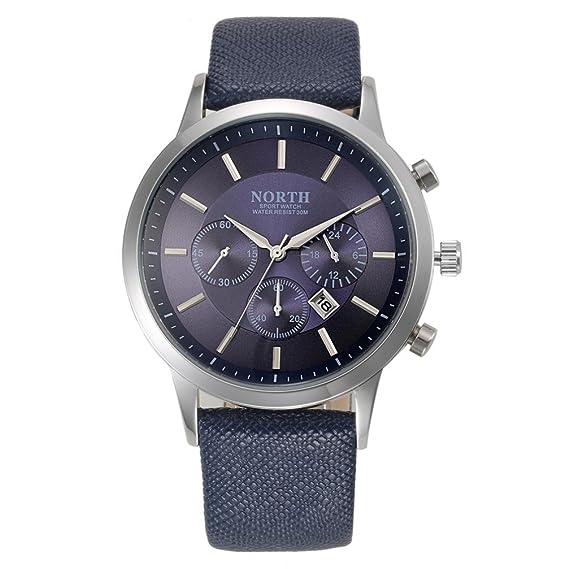 Hombre Relojes, shobdw North Sport Correa de piel auténtica de lujo Analog Quartz Relojes Reloj De Pulsera Azul: Amazon.es: Relojes
