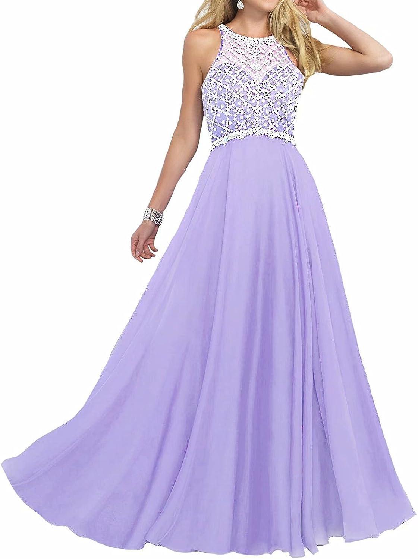 B07DWPYKJD Women's Prom Dresses Beaded Halter Sequins Long Chiffon Evening Gowns 61rrtN7rojL