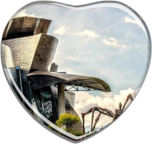 Hqiyaols Souvenir España Museo Guggenheim Bilbao Refrigerador Imán Forma de Corazon Cristal Pegatina Nevera Azulejo Viajes Regalo Coleccionables Recuerdo: Amazon.es: Hogar