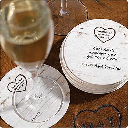 Wood Grain Design White Coasters - Well Wishes Cards - Package of 25