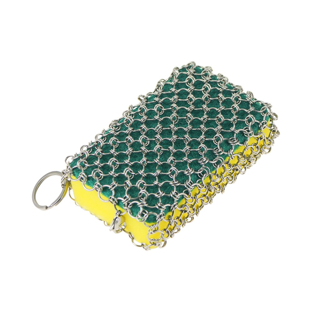 DiGiCare Stainless Steel Cast Iron Cleaner Chainmail Cleaning Scrubber With Hanging Ring&Spongefor Cast Iron Pan Dutch Ovens Waffle Iron Pans