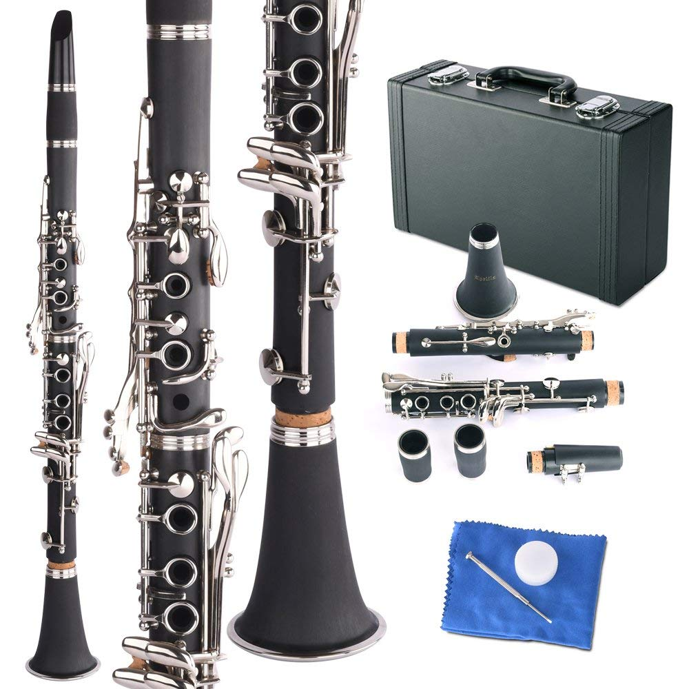 Apelila Professional Bb Clarinet Classic Music Orchestra Beginner Reed Woodwind w/Case Black by Apelila