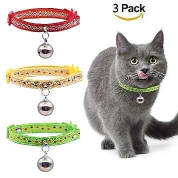 HOMIMP - Juego de 3 Collares para Gatos con cascabeles Grandes - Estilo sudamericano, Rojo/Verde/Amarillo: Amazon.es: Productos para mascotas