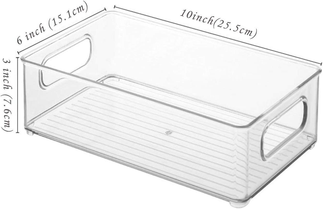 and Cabinet Organization YEESON 4PCS Stackable Refrigerator Organizer Bins with Handles for Kitchen Fridge Plastic Fridge and Pantry Storage Bin10 x 6 x 3 Freezer Pantry