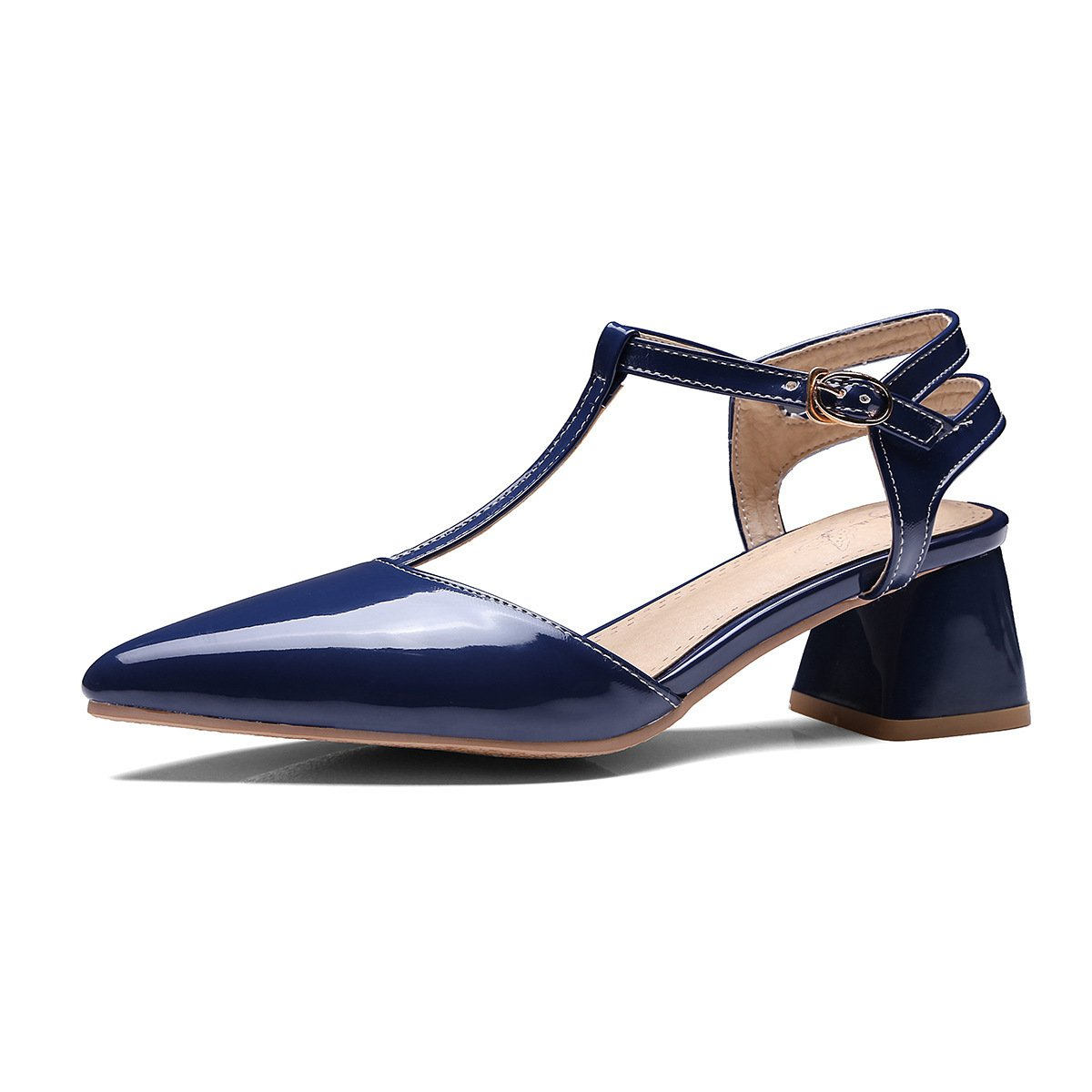 Navy GATUXUS Women's Pointed Strap Low Heel Comfort Dress Pumps Mary Jane shoes