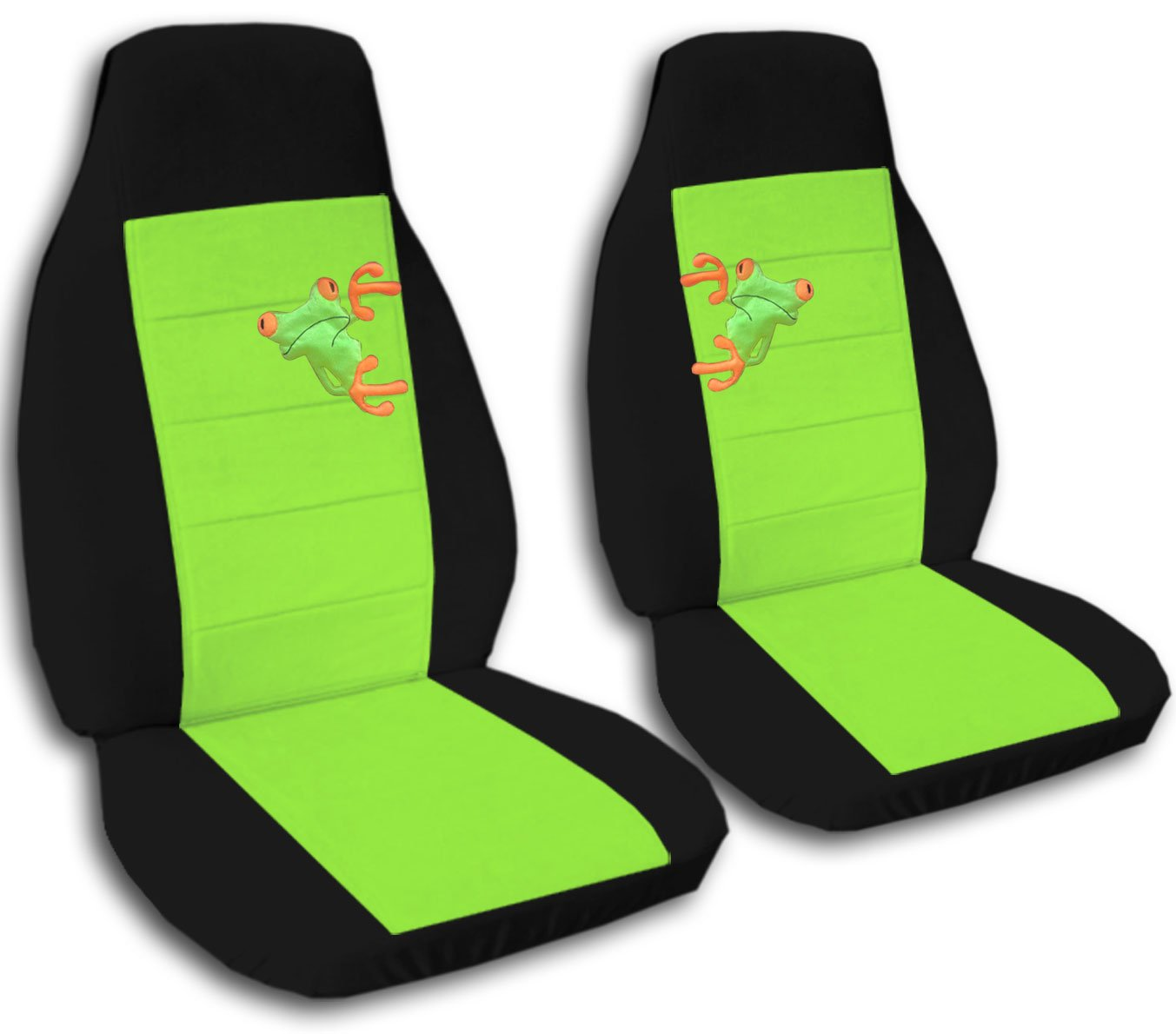 Awesome Amazon Com 2 Black And Lime Green Frog Seat Covers For A Machost Co Dining Chair Design Ideas Machostcouk