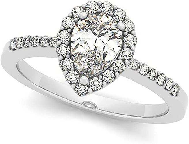 3.50 CT Diamond Halo Engagement Ring 14K White Gold Excellent Pear Shape