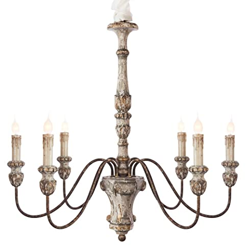 Catania vintage french country wood chandelier amazon catania vintage french country wood chandelier aloadofball Image collections