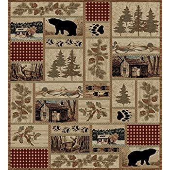 Amazon Com Rustic Lodge Forest Cabin 8x10 Area Rug 7