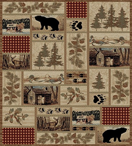 Cheap Rustic Lodge Forest Cabin 8×10 Area Rug, 7'10×9'10