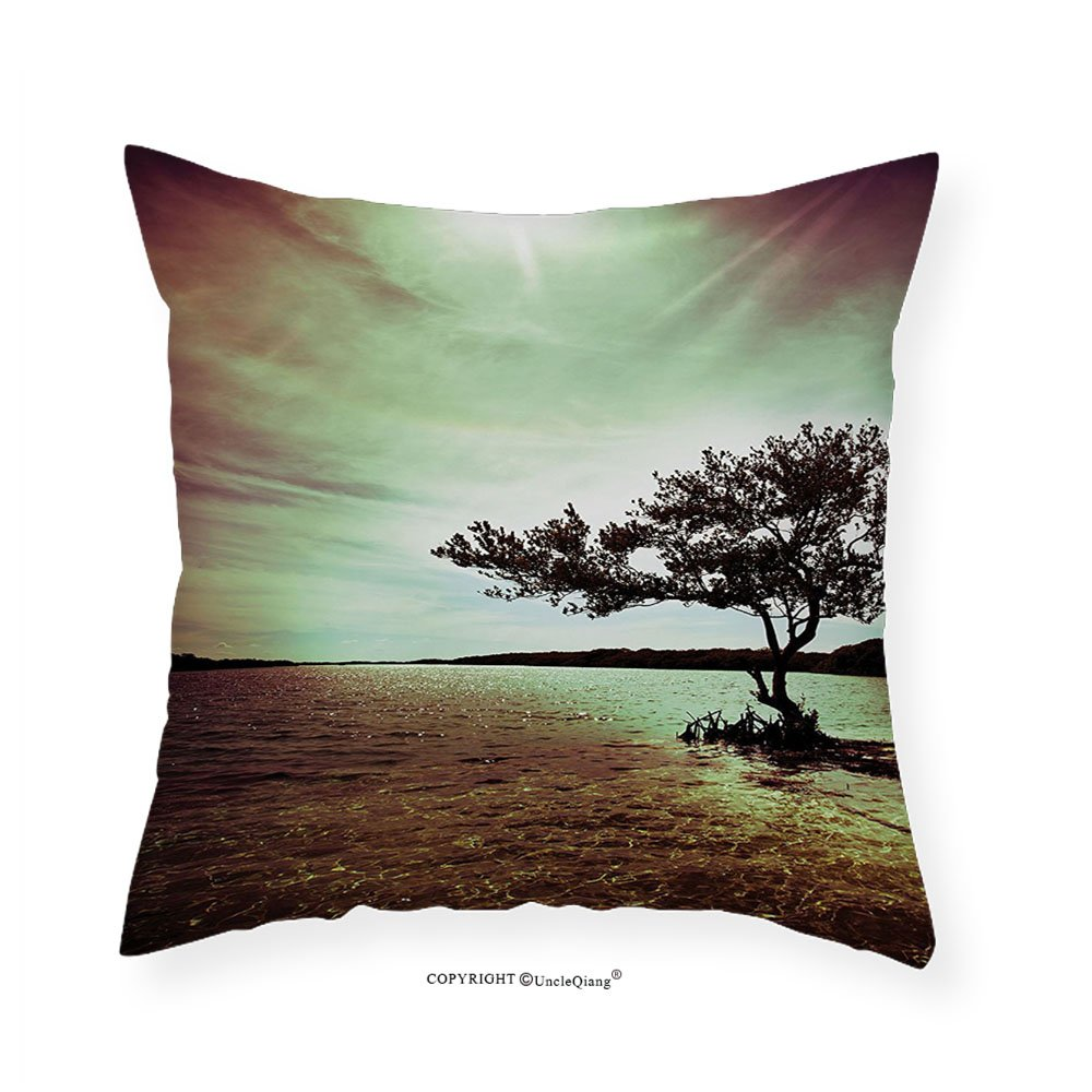 VROSELV Custom Cotton Linen PillowcaseLonely Tree Scene for Living Room Bedroom and Dorm Decor Accessories College List One of a Kind Machine Washable Silky Satin in Woodsy Decor Burgundy Gr 24''x24''