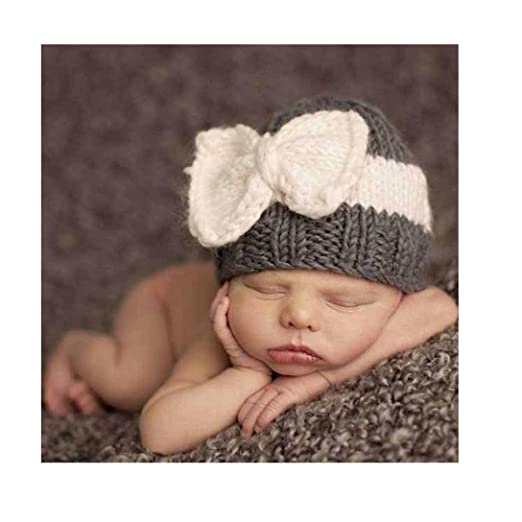 5a2bed11f79 Highpot Newborn Baby Boy Girl Knitted Wool Bow Beanie Crochet Winter Warm  Hat (Dark Gray