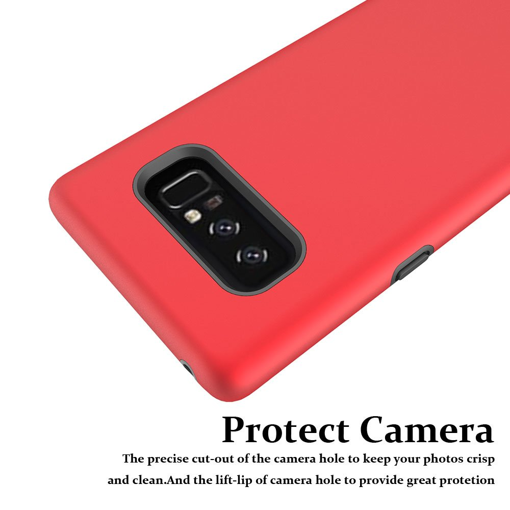 Note 8 Case, Galaxy Note 8 Case, MagicSky Slim Corner Protection Shock Absorption Hybrid Dual Layer Armor Defender Protective Case Cover for Samsung Galaxy Note 8 (Red)