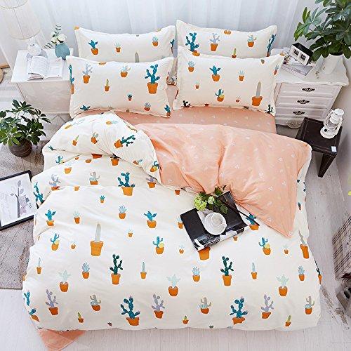 Bed Set Beddingset Duvet Cover Set No Comforter Flat Sheet Pillowcases 4pcs Children Cactus Circle Point Life Style Design KSN Full Size for Kids Adults Teens Sheet Sets (Cactus, Pink, Full,70''x86'')