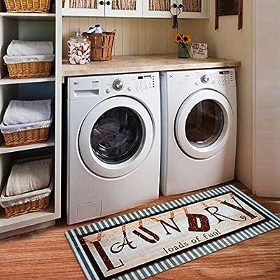 Ustide Vintage Style Waterproof Floor Runners Non Skid Kitchen Floor Mat Laundry Room Washhouse Mat Bathroom Rugs Non-Slip Rubber Area Rug 2x4