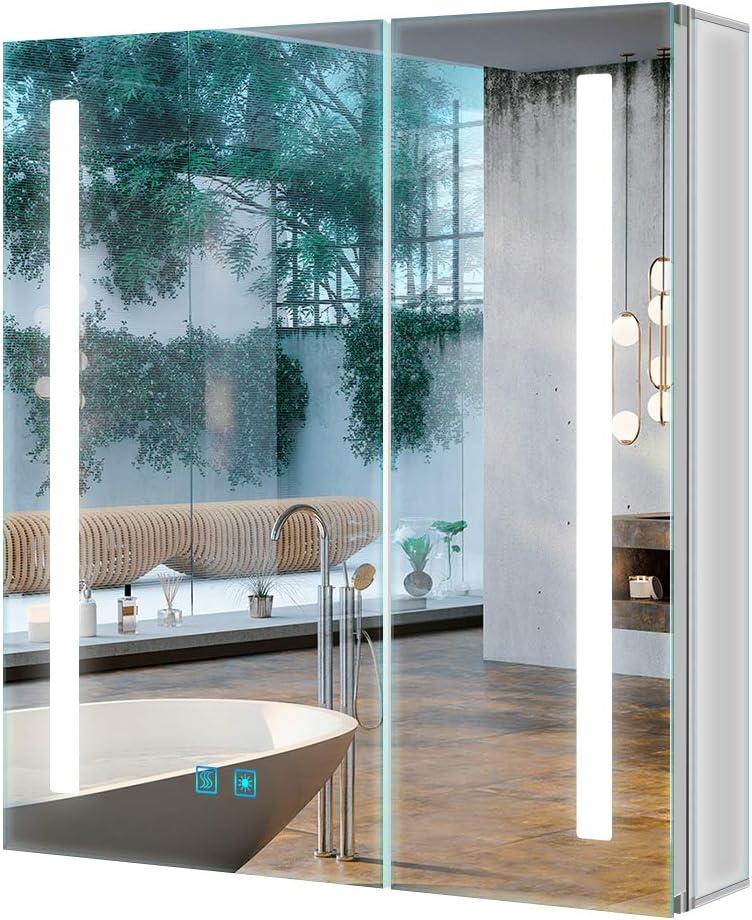 Tokvon - Armario con espejo de baño con iluminación LED, 2 puertas, con espejo grande, montaje en la pared, con almohadilla completa para el desvapor, luces ajustables, 630 x 650 mm: Amazon.es: Hogar