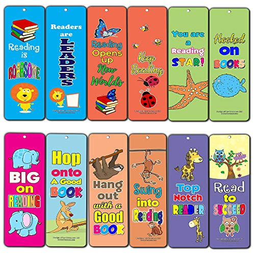 Creanoso Young Readers Animal Roarsome Reading Bookmarks for Kids (30-Pack) - Reading Encouraging Words Bookmarkers Bulk Set - Premium Quality Book Clippers Boys, Girls]()