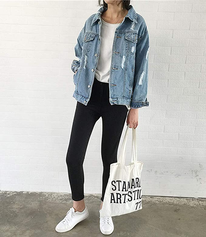 Oversize Ripped Denim Jacket for Women Vamp your outfit w/ a casual Ripped Jean Jacket Cute oversized denim jacket