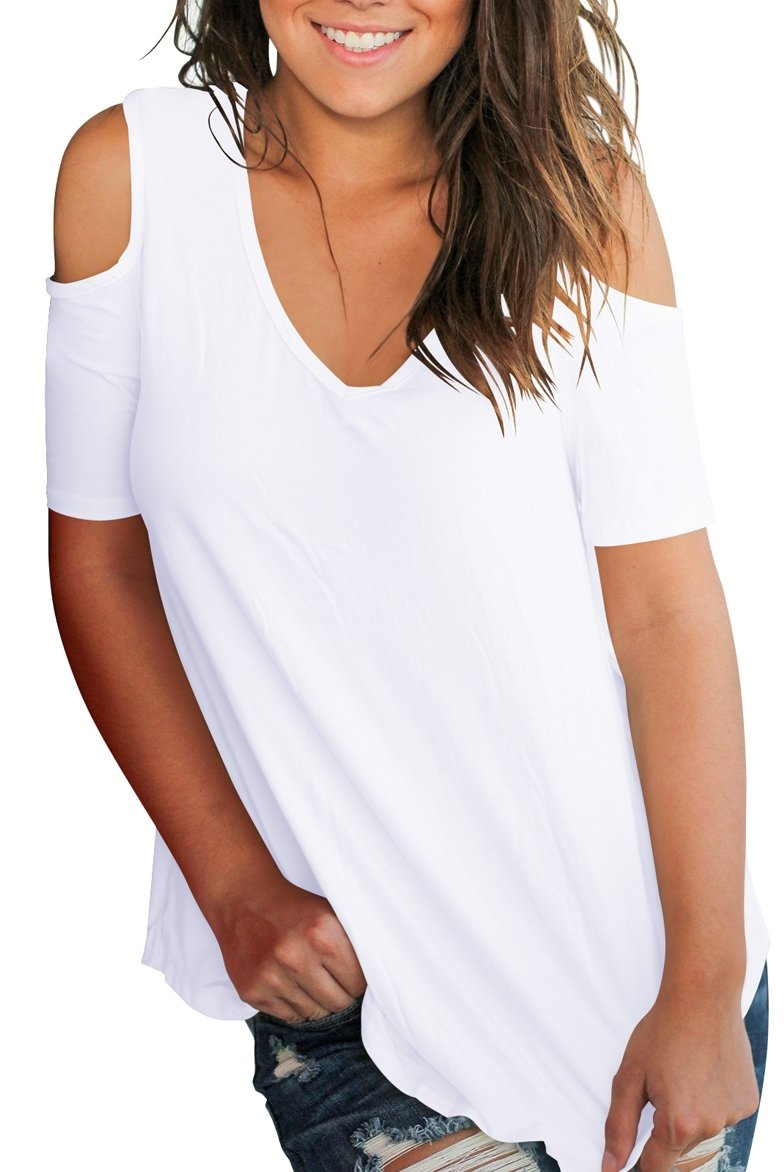 Smalnnie Cold Shoulder Tunic Tops for Women Plus Size 2018 Tee Shirts Cotton White 2XL by Smalnnie (Image #3)