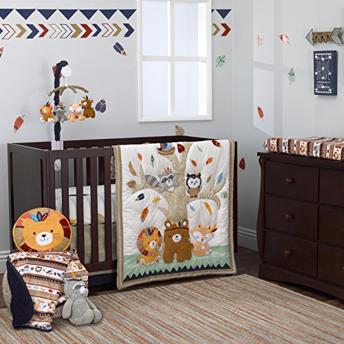 NoJo Aztec Forest 4 Piece Nursery Crib Bedding Set - Appliqued Comforter, 100% Cotton Crib Sheet, Dust Ruffle, and Nursery Organizer, Navy, Tan, Ivory, Mint