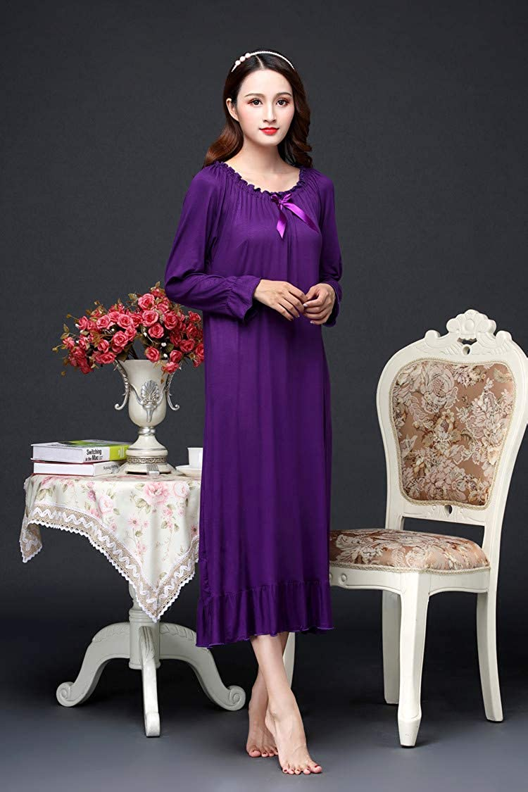OKSakady Morbido Modale Ragazza delle Donne Manica Lunga Camicia da Notte Principessa Camicia da Notte