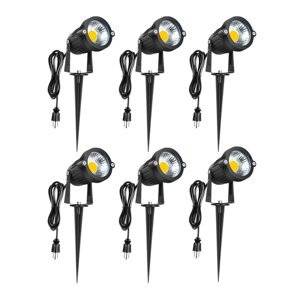 LED Landscape Lights 120V - 5W Spot Light Outdoor 3000K Warm White Pathway Light IP65 Waterproof COB Super Bright Light for Driveway, Yard, Lawn, Patio, Outdoor Garden Lights with Spike Stand(6 Pack)