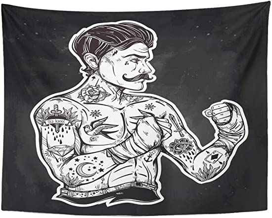 Emvency Tapestry Wall Hanging Vintage Traditional Tattoo Flash Man Boxing Doodle Stylish 60 x 80 Home Decor Art Tapestries for Bedroom Living Room Dorm Apartment