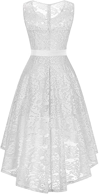 Lulupi damska sukienka z koronką, z długim rękawem, sukienka wieczorowa, koktajlowa, elegancka, na imprezę, uroczystość, ślub: Odzież