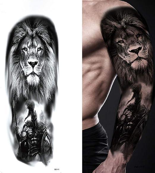 tzxdbh Tatuaje de Brazo Completo Grande Lion Crown King Rose ...
