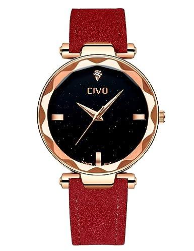 CIVO Relojes para Mujer Reloj Damas Señoras Lujo Impermeable Fino Reloj de Cuero Minimalista Moda Calendario