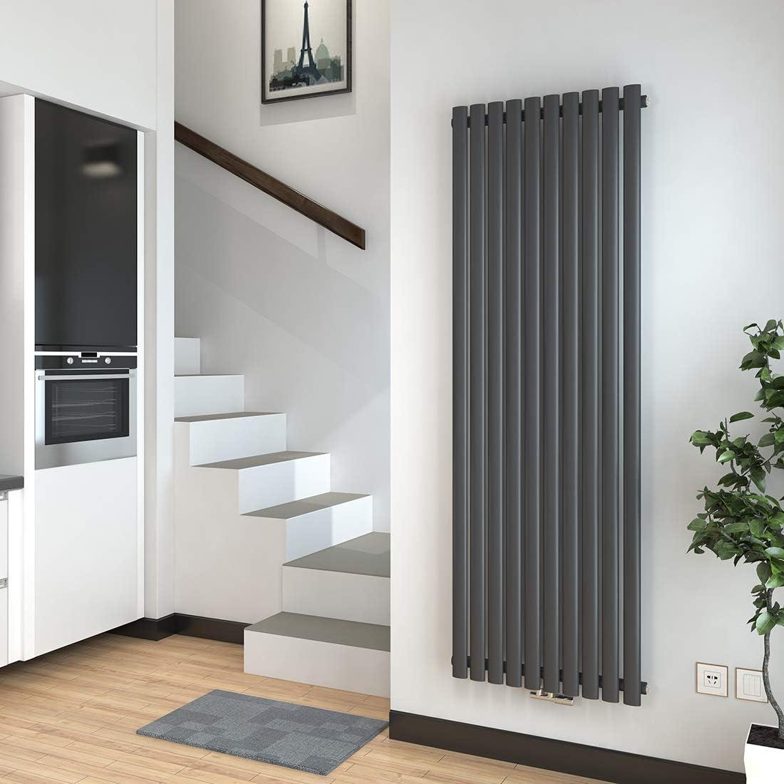 Meykoers Design-Heizk/örper Wei/ß Vertikal 1800x600mm Oval Heizung Mittelanschluss Doppellagig
