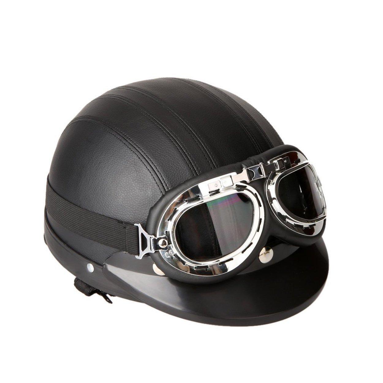 Amazon.es: FREESOO Casco Abierto Protección para Motocicleta Scooter Bicicleta 54-60cm Ajustable con Visera UV Gafas Bufanda