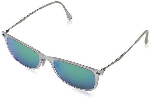 Ray-Ban Unisex Sonnenbrille RB4225, Gr. Medium (Herstellergröße: 52), Mehrfarbig (Gestell: Transparent/Gunmetal, Gläser: Rot Verspiegelt 646/6Q)