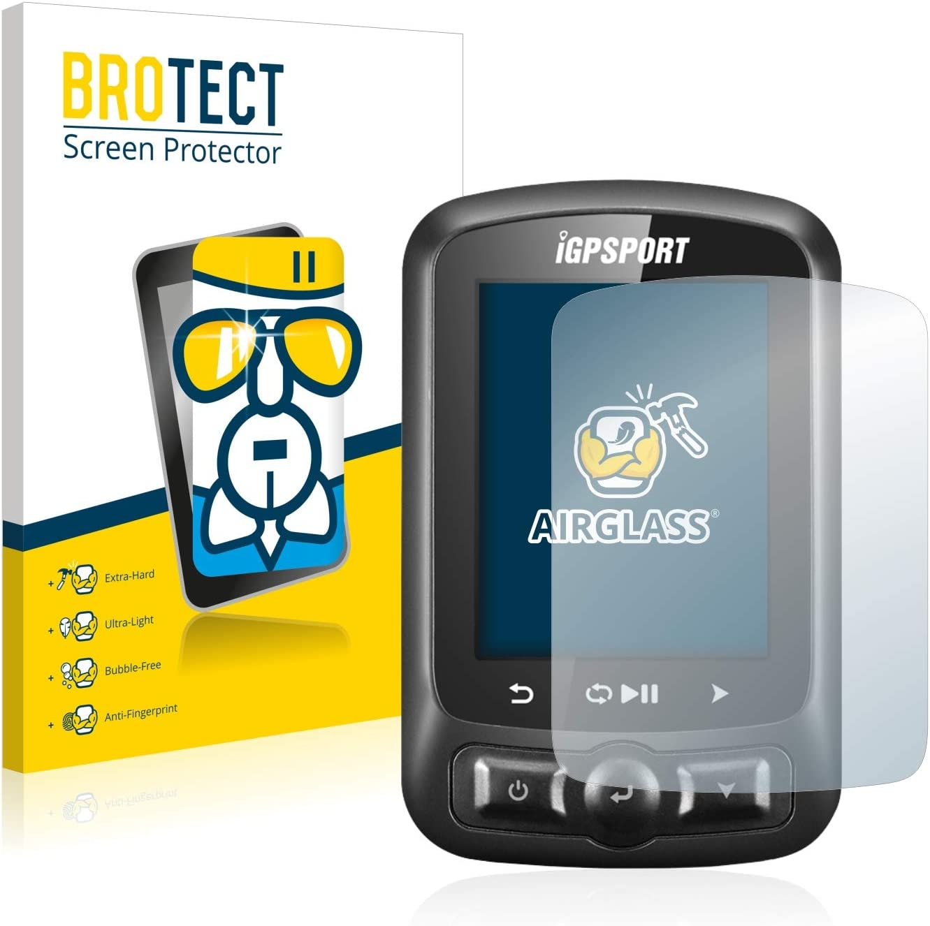 AirGlass Glass Screen Protector for igpsport iGS620 Screen Guard Ultra-Light Extra-Hard BROTECT