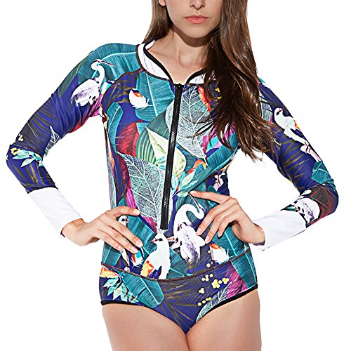 LafyKoly Women's One Piece Long Sleeve Rash Guard UV Protection Printed Surfing Swimsuit Swimwear Bathing Suit (M(US:6-8), Forest)