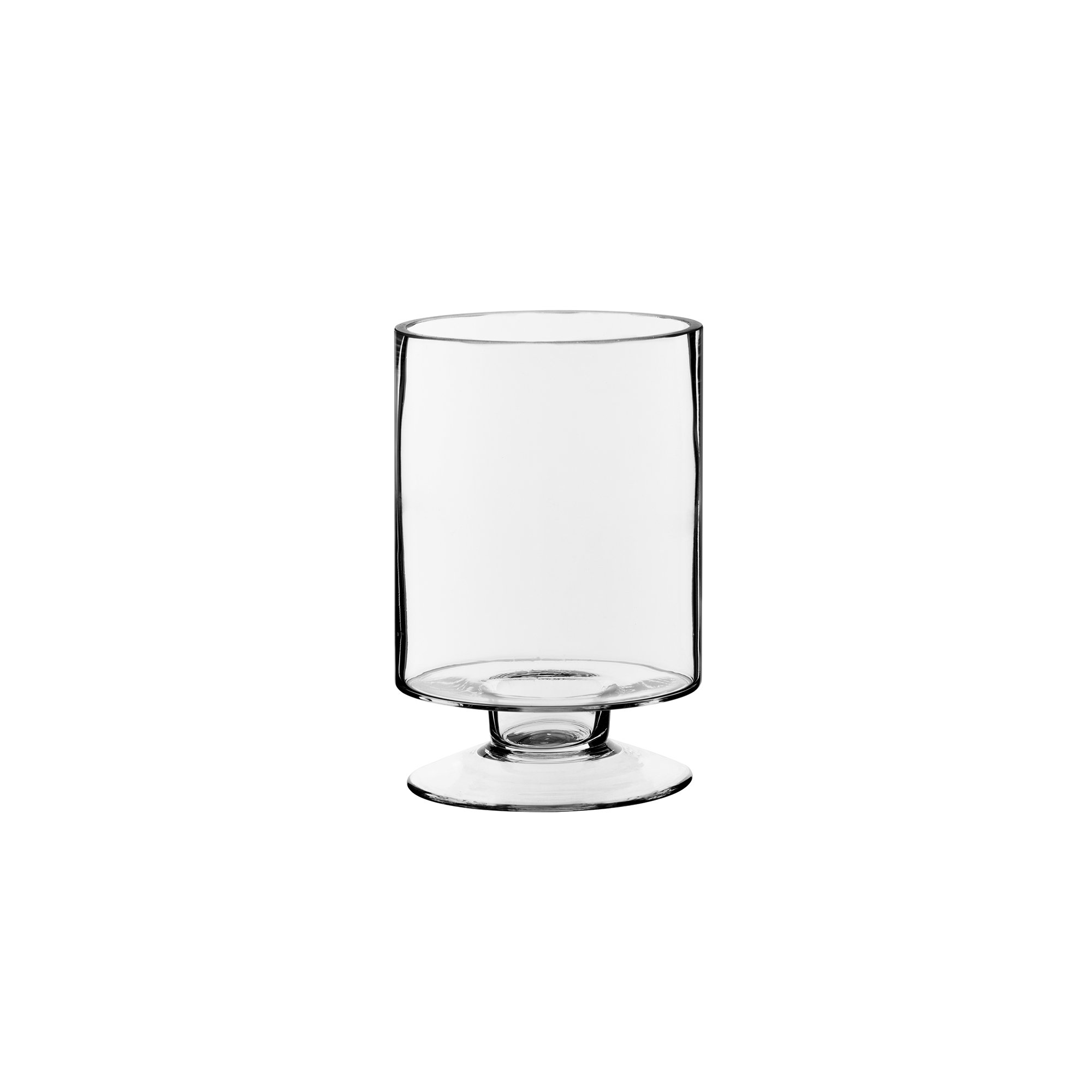CYS EXCEL Glass Candle Holders, Hurricanes Candle Holders, Stemmed Candle Holders. Small Candleholders - Heights 6'' Open:3.75'' Base:3.5''), Pack of 6 pcs