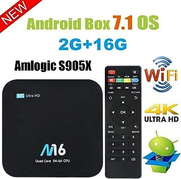 YOMRIC Android TV Box - Android 7.1 Smart TV Boxsets, Amlogic S905X de Cuatro núcleos, 2GB de