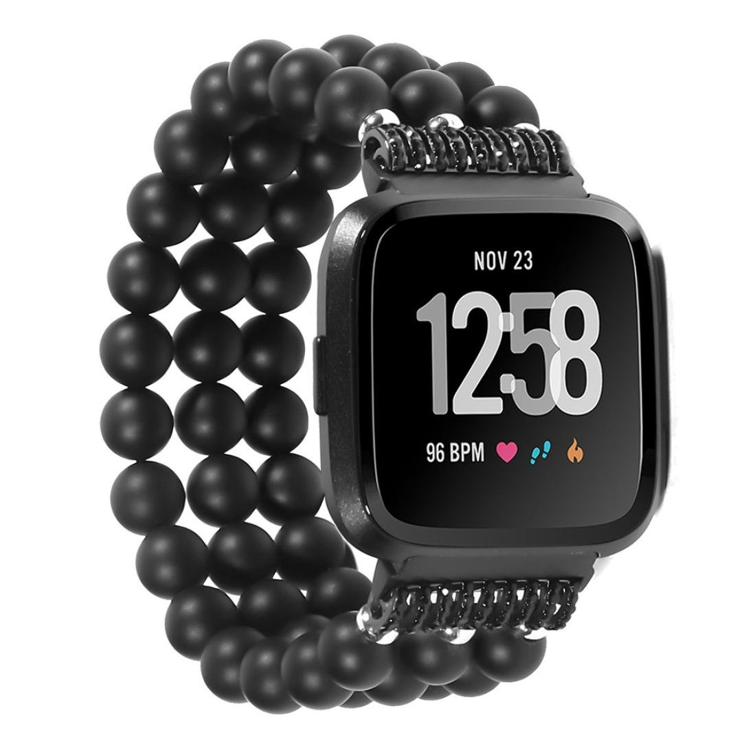 AutumnFall Bands for Fitbit Versa, Crystal Three Beads Round Beads Watch Band Wrist Strap For Fitbit Versa (Black)