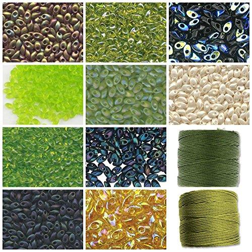 100g Grams Long Magatama Bead Mix Miyuki. Lime, Chartreuse, Green, Midnight, Gold, Ivory. 10 Tubes, 10g Each Plus 2 spools Cord - Miyuki Lime Green Transparent Beads
