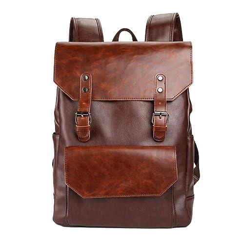 Jitong Hombres Hombre Mochilas Escolares Bolso Cuero PU Bolsos Vintage Mochila de Viaje Casual Bolsa (