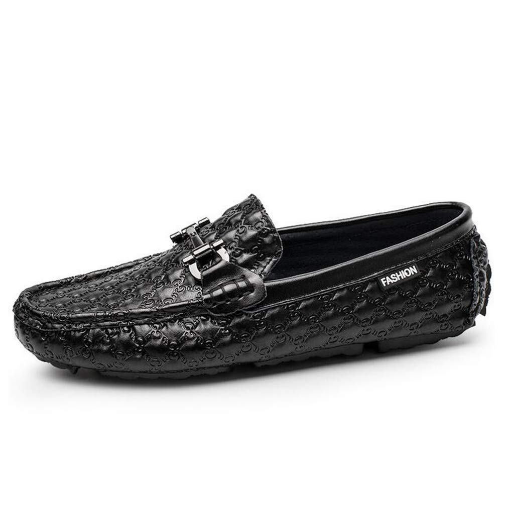 Hy Herrenschuhe Lederfeder Herbst Soft Sole Comfort Driving schuhe Loafers & Slip-Ons Lazy schuhe,schwarz,43