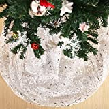 Deconovo Organza Glittering Shining Christmas Sheer DIY Christmas Tree Skirt Tablecloth Room Decoration Fabric Party Decorations Willow Pattern Silver Foil 59 Inch By 118 Inch